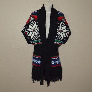 Sz S Ralph Lauren Black Print Cardigan Sweater